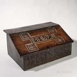 "Carved Oak ""MH 1692"" Tabletop Box"