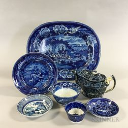 Seven Staffordshire Blue Hunting Transfer-decorated Tableware Items