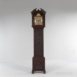 Carved Oak Quarter-hour Chiming Longcase Clock