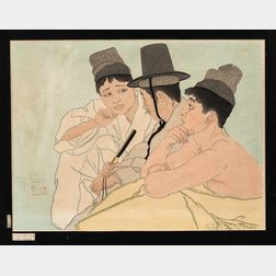 Paul Jacoulet (1896-1960), Trois Coreens Seoul Coree