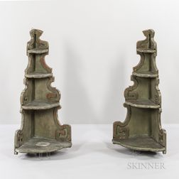 Pair of Green-painted Four-tier Corner Shelves
