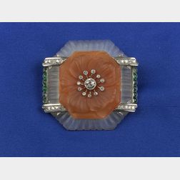 Chalcedony and Rock Crystal Brooch