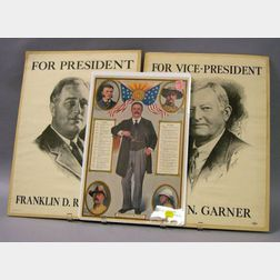 Franklin D. Roosevelt and John N. Garner Presidential Campaign Posters and a 1910   Boston Globe