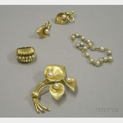 Small Group of Gold and Pearl Jewelry