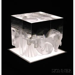 Steven Weinberg (American, b. 1954) Glass Cube Sculpture