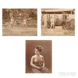 Japanese School, 19th Century      Three Photographs of Japanese Subjects, Including a Seminude Geisha