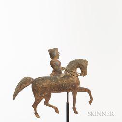Cast Copper Man on Horseback Weathervane