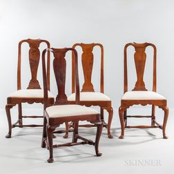Assembled Set of Four Maple and Tiger Maple Queen Anne Side Chairs