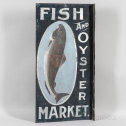 """Painted and Smalted Double-sided Tin """"Fish And Oyster Market"""" Sign"""