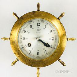 Small Schatz Brass and Glass Ship's Bell Clock