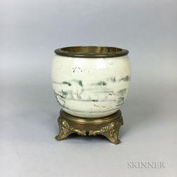 Ormolu-mounted White-glazed Ceramic Jar