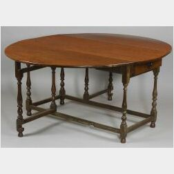 William and Mary Style Oak Drop-leaf Table