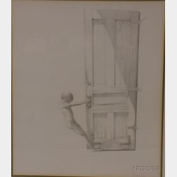 Framed Graphite on Paper Drawing of a Young Boy Opening a Door