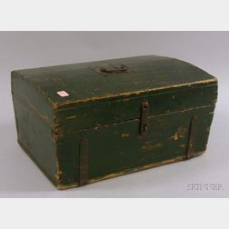 Small Green-painted Dome-top Pine Dovetail-constructed Trunk with Wrought Iron   Hardware