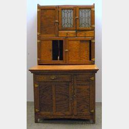 Hastings Oak and Wooden Hoosier-type Cabinet