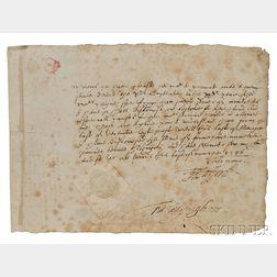 Walsingham, Francis (c. 1532-1590) Signed Letter, 1586.