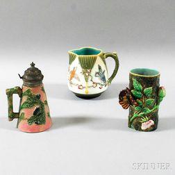 Three Majolica Pottery Items