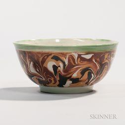Slip-marbled Creamware Slop Bowl