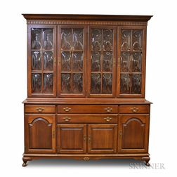 Ethan Allen Mahogany Veneer Glazed Step-back Cupboard