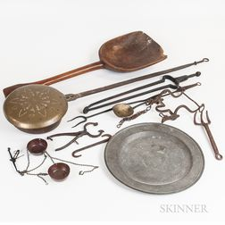 Group of Metal and Wood Domestic Items