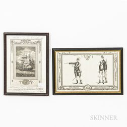 Two Framed Early Engravings Pertaining to the American Revolutionary War