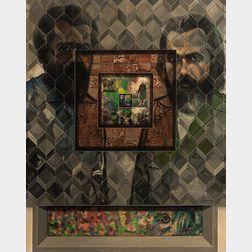 Carlos Irizarry (Puerto Rican, b. 1938)      Autoretrato con Pablo Marcano Garcia y Carlos Marx