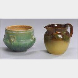 Rookwood Standard Glaze Pitcher and a Roseville Futura Pottery Bowl
