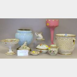 Seventeen Decorative Porcelain and Glass Table Items