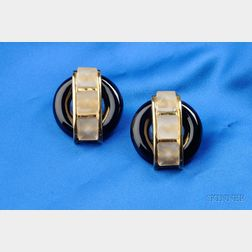 18kt Gold, Onyx, and Frosted Rock Crystal Earclips, Aldo Cipullo, Cartier