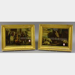 Pair of Giltwood Framed Mezzotints The Prodigal Son in Misery   and   The Prodigal Son Returns Reclaimed