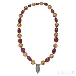 Gold, Ruby Bead, and Diamond Necklace