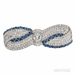 Art Deco Platinum, Diamond and Sapphire Bow Brooch
