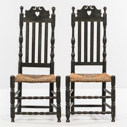 Pair of Heart-and-crown Bannister-back Side Chairs