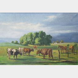 Attributed to Neils Christianson (Danish/American, 1860-1926)      Cows and Horses Grazing in a Pasture.