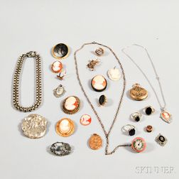 Group of Cameo Jewelry and Gem-set rings