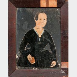 Jane A. Davis (Connecticut/Rhode Island, 1821-1855)      Portrait of a Woman with Mirror Background