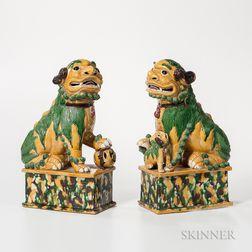 Pair of Sancai-glazed Foo Dogs