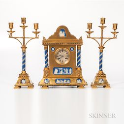 Three-piece Gilt-bronze-mounted and Wedgwood Jasper-inset Clock Garniture,