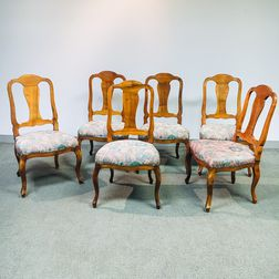 Set of Six Walnut Side Chairs