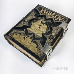 Ornate 1889 A.J. Holman & Co. Embossed and Gilt Leather-bound Swedish Bible