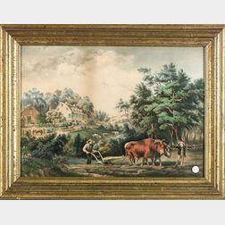 Nathaniel Currier, publisher (American, 1813-1888)    Farmstead Scene.