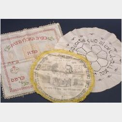 Three Decorated Cotton Matzoh Covers