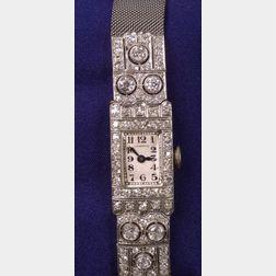 Art Deco Platinum and Diamond Watch, Longines