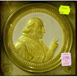 Pius VIII Painted and Gilt Molded Brass Plaque