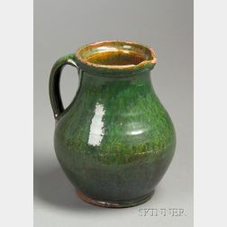 Green-glazed Redware Pitcher