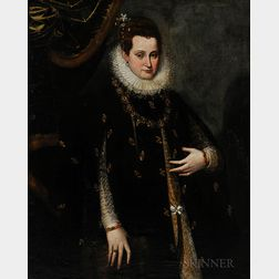 Continental School, 19th Century    Portrait of a Lady in the 17th Century Flemish Style