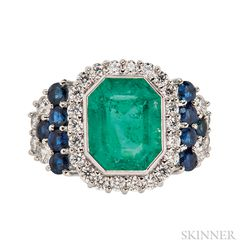 Platinum, Emerald, Sapphire, and Diamond Ring, Sophia D.