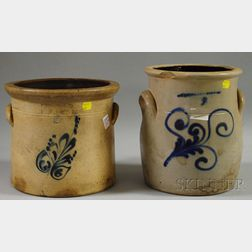 Two Cobalt Floral-decorated Two-gallon Stoneware Crocks