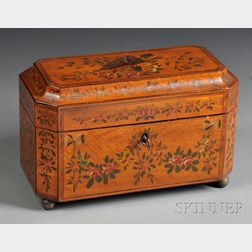 Polychrome-painted Floral-decorated and Inlaid Wood Tea Caddy