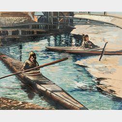 American School, 20th Century    Eskimos in Kayaks